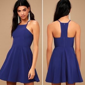 Lulu's Call to Charms Skater Dress Royal Blue